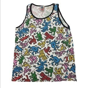 Keith Haring All Over Print Tank Top Women's Large